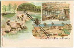 Haiti - Port Au Prince - Parmacie Internationale - Blanchisseuses - Verlag Künzli Freres Zürich Ca. 1895 - Ansichtskarten
