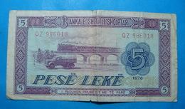 ALBANIA 5 LEKE 1976 Serial # QZ 986018 - Albanie
