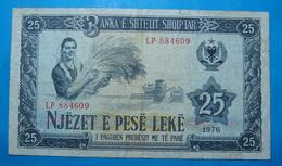 ALBANIA 25 LEKE 1976 Serial # LP 884609 - Albanie
