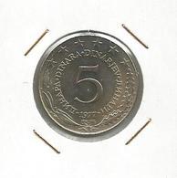 Gh7 Yugoslavia 5 Dinara 1977.  KM#58  High Grade - Yugoslavia