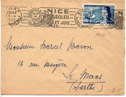 Philippe Le Bon (n° 1012) Seul Sur Lettre IMPRIMES (Rabat Non Collé) Du 30.4.1955 - Postmark Collection (Covers)