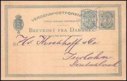 3136/ Danemark (Denmark) Entier Stationery Carte Postale (postcard) 1881 Pour Allemagne Germany - Entiers Postaux