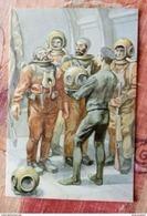 Illustrator Itkin - Writer Jules Verne - Vingt Mille Lieues Sous Les Mers - Modern Ukrainian  Postcard - Diver Diving - Ecrivains