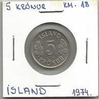 A2 Iceland 5 Kronur 1974. KM#18 - Islande