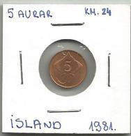 A4 Iceland 5 Aurar 1981. KM#24 - Islandia