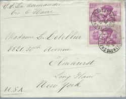 Lettre De France Pour Les U. S. A. Affranchie Avec N°  296 X2 Le 26/5/35 - Sur Le Normandie Via Le Havre - Marcophilie (Lettres)
