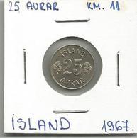 A5 Iceland 25 Aurar 1967. KM#11 - Islandia