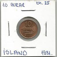 A6 Iceland 10 Aurar 1981. KM#25 - Islandia