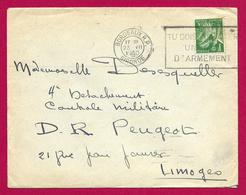 Enveloppe Datée De 1940 - Voyagée De Bordeaux En Gironde Vers Limoges En Haute-Vienne - Usine Peugeot - Marcophilie (Lettres)