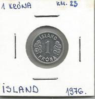 A9 Iceland 1 Krona 1976. KM#23 - Islande