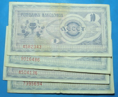 MACEDONIA Lot Of 4 Banknotes - Bulgarie