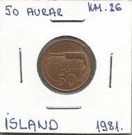 A9 Iceland 50 Aurar 1981. KM#26 - Islandia