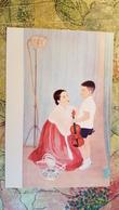"KOREA NORTH PROPAGANDA Postcard "" REQUEST"" By KANG YUNG NIM  1950s  Children VIOLIN - Corée Du Nord"