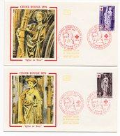 FDC France 1976 - Croix Rouge 1976 - Eglise De Brou YT 1910 & 1911 - 01 Bourg En Bresse - 974 St Denis (réf A1329) - FDC