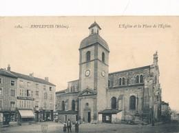 CPA - France - (69) Rhône  - Amplepuis - L'Eglise Et La Place De L'Eglise - Amplepuis