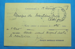 1908 MONTENEGRO & OTTOMAN IMPERIALE BANQUE CHEQUE CARTE POSTALE, Seal CETINJE, Without Stamp - Turquie