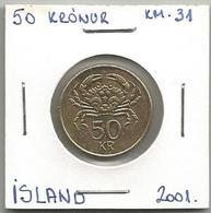 D7 Iceland 50 Kronur 2001. KM#31 - Islande