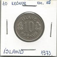 D7 Iceland 10 Kronur 1973. KM#15 - Islande