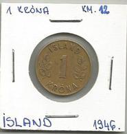 D8 Iceland 1 Krona 1946. KM#12 - Islande