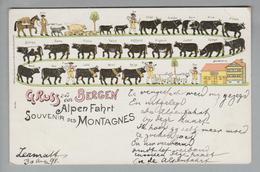 AK Motiv Gruss Aus Den Bergen 1893-07-30 Zermatt Litho H.Guggenheim #239 - Souvenir De...