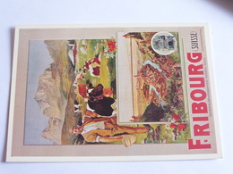 Affiche Pour La Société De Développement De Fribourg - 1955 - Publicité
