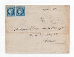 !!! PRIX FIXE : LETTRE DE 1873 POUR PARIS AVEC RARE CACHET MARITIME COL. FR. PAQ FR G N°2 (LIGNE G) - Marcophilie (Lettres)
