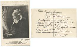 CARTE AUTOGRAPHE DU PEINTRE EUGENE GAUGUET, 1936 - Autographes