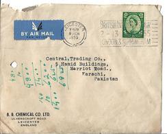 Great Britain 1959 Queen Elizabeth II Wilding Slogan Cancellation Postal History Cover To Pakistan. - 1952-.... (Elizabeth II)