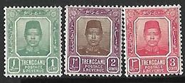 Malaya/Trengganu  1910-5   Sc#1-3   Sultan    MH   2016 Scott Value $6.10 - Trengganu