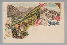 AK Motiv Gruss Aus Den Bergen 1901-06-29 Litho # 2023 Geb.Weigmann PVK/Z - Souvenir De...