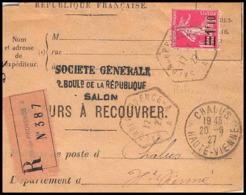 Lettre-3051 Bouches Du Rhone N°228 Semeuse Recommandé Seul Sur Devant De Lettre Salon De Provence Pour Chalus - Postmark Collection (Covers)
