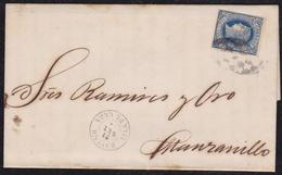 """ANTILLAS. 1866.BAYAMO A MANZANILLO. 10 CTS. AZUL MAT. PARRILLA COLONIAL.FECHADOR """"BAYAMO/ISLA DE CU BA"""". CARTA COMPLETA. - Cuba (1874-1898)"""