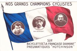 """CPA Publicitaire Publicité Champions Cyclistes Bicyclette """"La Française Diamant"""" """"Hutchinson"""" Vélo Cycling Radsport - Advertising"""