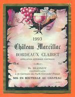 étiquette De Vin Bordeaux Clairet Chateau Marcillac 1993 B Blondy à Saint Germain Du Puch - 75 Cl - Bordeaux