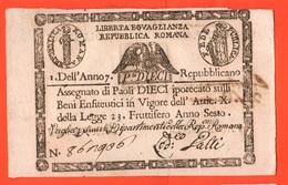 10 Paoli 1790 Stato Pontificio Papa Pio VI° Pope Papal State 1° Repubblica Romana First Roman Republic - Vaticano