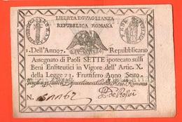 Vaticano 7 Paoli 1790 Stato Pontificio Papa Pio VI° Pope Papal State 1° Repubblica Romana First Roman Republic - Vatican