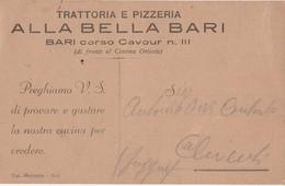 Cartolina Pubblicitaria Nuova - TRATTORIA ALLA BELLA BARI - Cinema Oriente Bari - Advertising