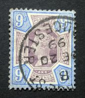 GB QV 1887 SG209/Sc.#120  9d Dull Purple & Blue, JUBILEE ISSUE, GLOUCESTER CDS Postmark, Used. - 1840-1901 (Victoria)