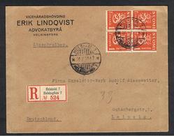 FINLANDIA:  1930  LETTERA  RACCOMANDATA  CON  1 M. BLOCCO  4 (148)  -  PER  LA  GERMANIA - Finlandia