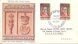 AUSTRALIA FDC 1974 150° ANNIVERSARY OF CHARTER OF JUSTICE (NOV180175) - 1966-79 Elizabeth II
