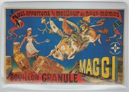 Repro D'Affiches Publicitaires Vintage Sur Métal Émaillé (Effet Bombé) - Bouillon Granule Maggi (Recto-Verso) - Advertising (Porcelain) Signs