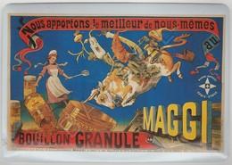 Repro D'Affiches Publicitaires Vintage Sur Métal Émaillé (Effet Bombé) - Bouillon Granule Maggi (Recto-Verso) - Enameled Signs (after1960)