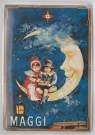Repro D'Affiches Publicitaires Vintage Sur Métal Émaillé (Effet Bombé) - Maggi (Enfants Sur Lune) (Recto-Verso) - Enameled Signs (after1960)