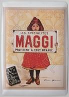 Repro D'Affiches Publicitaires Vintage Sur Métal Émaillé (Effet Bombé) - Maggi Profite à Tout Ménage (Recto-Verso) - Reclameplaten
