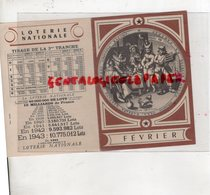 LOTERIE NATIONALE GUERRE 1939-1945- TIRAGE 3 EME TRANCHE FEVRIER 1944- CALENDRIEN GREGORIEN  PAPE GREGOIRE - Billets De Loterie