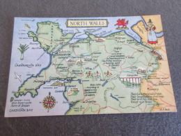 CPSM - Tracé De La Carte NORTH WALES - Pays De Galles