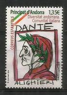 Communauté Italienne D'Andorre (Hommage A Dante Alighieri). Un Timbre Neuf ** Haute Faciale - Andorra Francese