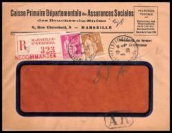 8344 Lettre Recommandé Cover Bouches Du Rhone N°364 + 369 Paix 1939 Marseille Pl Saint Ferréol - Poststempel (Briefe)