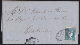 ANTILLAS. 1859. MATANZAS A SANTANDER. 1/2 REAL AZUL (ED. ANT. 7). PARRILLA DE CRUCES. AL DORSO LLEGADA. - Cuba (1874-1898)