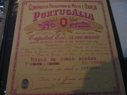 PORTUGAL - LISBOA  - SHARE -  PORTUGÁLIA - COMPANHIA PRODUTORA DE MALTE E CERVEJA - BEER - Aandelen